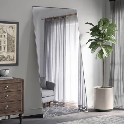 Oversized Rectangle Silver Hooks Modern Mirror (71 in. H x 31 in. W)