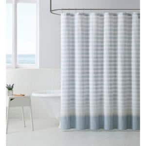 Continental Twill 1-Piece Blue Cotton Shower Curtain 72 in. x 72 in.