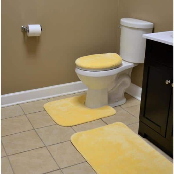Garland Rug Traditional Rubber Ducky Yellow 21 In X 34 In Solid Plush Nylon 3 Piece Bath Mat Set Ba010w3p02cc6 The Home Depot