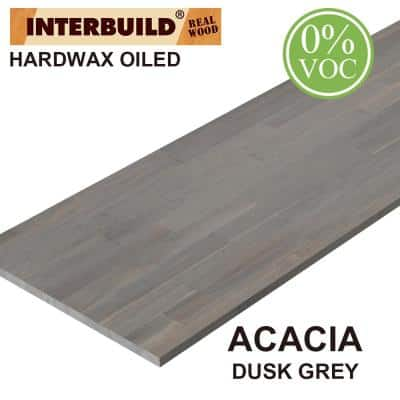 Acacia 8 ft. L x 25 in. D x 1 in. T Butcher Block Countertop in Dusk Grey Wood Oil Stain