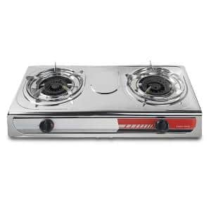 Portable 24,000 BTU Propane Gas Stove-Top Double Burner Fryer Outdoor Camping Tailgate Stoves Cooktop