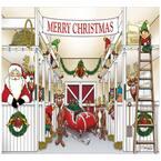 7 ft. x 8 ft. Santa's Reindeer Barn Holiday Garage Door Decor Mural for Single Car Garage