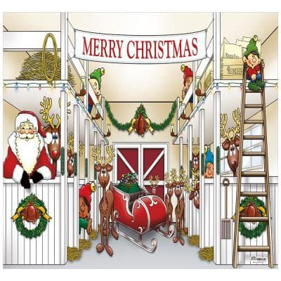 7 ft. x 8 ft. Santa's Reindeer Barn Holiday Garage Door Decor Mural for Single Car Garage