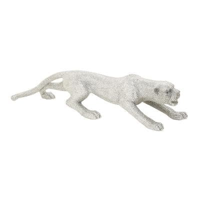Leopard Polystone Sculpture with Silver Rhinestone Accents
