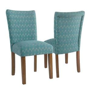 Parsons Teal Modern Geo Upholstered Dining Chair Set of 2
