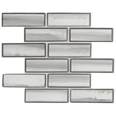 Ombre Grigia 11.73 in. x 11.73 in. x 8mm Glass Mesh-Mounted Mosaic Tile (0.96 sq. ft.)