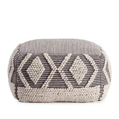Chippewa 22 in. x 22 in. x 16 in. Gray and Ivory Pouf