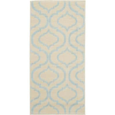 Jubilant Ivory/Blue 2 ft. x 4 ft. Moroccan Farmhouse Area Rug