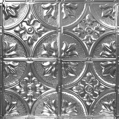 Pattern #2 in Brushed Satin Nickel 2 ft. x 2 ft. Nail Up Tin Ceiling Tile (20 sq. ft./Case)