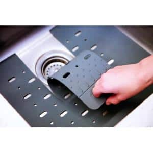 16 in. x 16 in. Silicone in Sink Mat Protector with Drain Flap in Slate