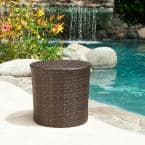 Alan Multi-Brown Round Wicker Outdoor Side Table