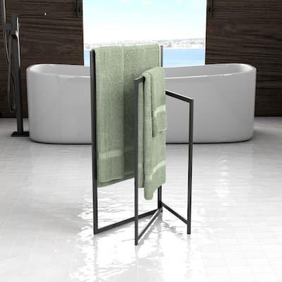3-Tier Free-Standing Rectangle Towel Rack in Matte Black