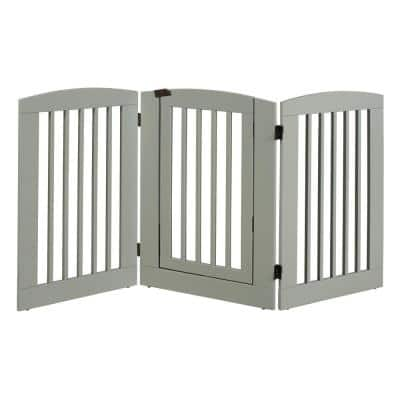 Ruffluv 36 in. H Wood 3-Panel Expansion Grey Pet Gate with Door