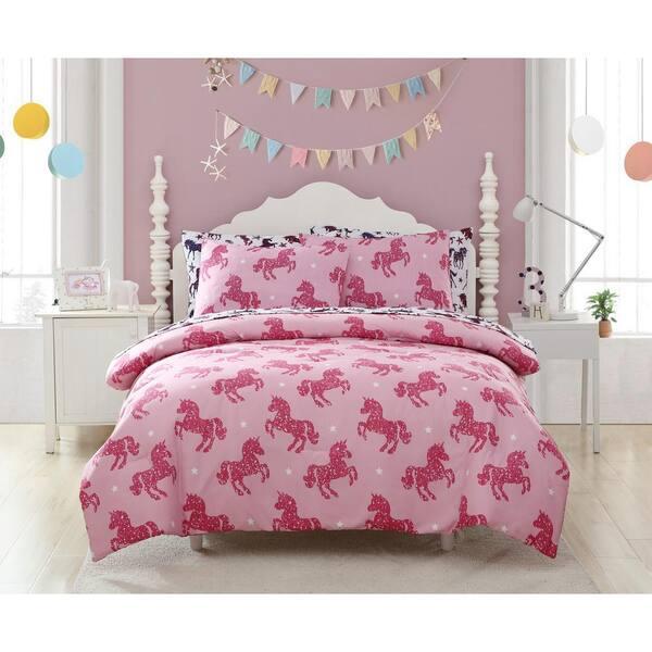 Kute Kids 2 Piece Shimmering Glitter, Pink Unicorn Bedding Twin