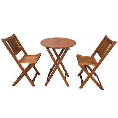 3-Piece Acacia Wood Round Outdoor Bistro Set