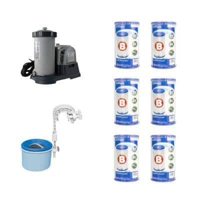 0 sq. ft. Sand Pool Pump with Wall Mount Automatic Skimmer and Pool Filters (6-Pack)
