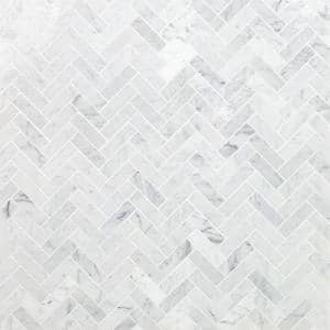 White Carrara Herringbone 12 in. x 12 in. 10mm Polished Marble Stone Mosaic Wall Tile (1 sq. ft.)