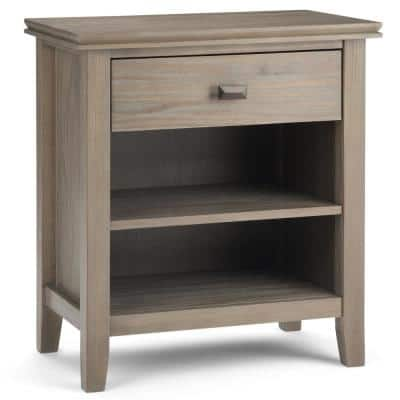 Artisan 1-Drawer Solid Wood 24 in. Wide Contemporary Bedside Nightstand Table in Distressed Grey