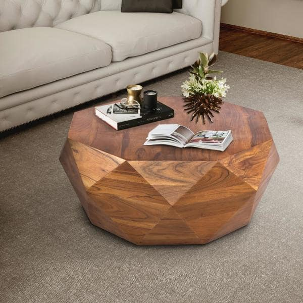 The Urban Port Diamond 34 In Dark Brown Medium Round Wood Coffee Table With Smooth Top Upt 196015 The Home Depot