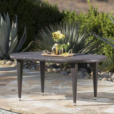 Mariam Multi-Brown Oval Wicker Outdoor Dining Table