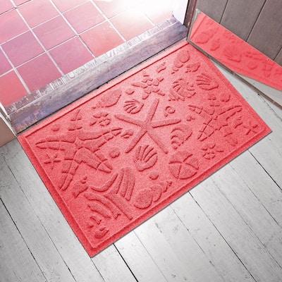 Beachcomber 23 in. x 35 in. PET Polyester Doormat Solid Red