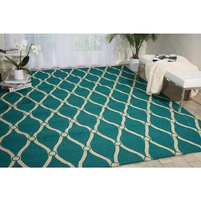Portico Aqua 5 ft. x 8 ft. Geometric Modern Indoor/Outdoor Area Rug