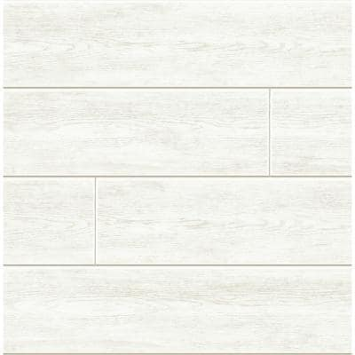 Shiplap Off-White Vinyl Peel & Stick Wallpaper Roll (Covers 30.75 Sq. Ft.)
