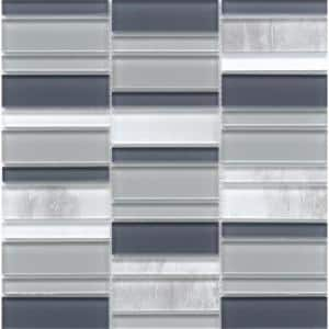 La Vie Gray 11.81 in. x 11.93 in. x 6mm Glass Mesh-Mounted Mosaic Tile (0.98 sq. ft.)