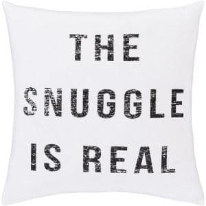 Text White Graphic Polyester 18 in. x 18 in. Throw Pillow