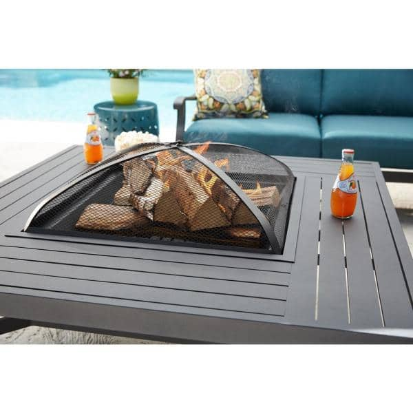 Hampton Bay 43 50 In Aluminum Fire Pit Table In Black Fta79103n The Home Depot