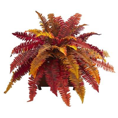 Indoor Autumn Boston Fern Artificial Plant in Planter