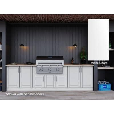 Miami Shell White 17-Piece 121.25 in. x 34.5 in. x 28 in. Outdoor Kitchen Cabinet Set