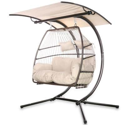 2-Person Swing Hanging Egg Rattan Chair Outdoor Patio Hammock w/ Beige Cushions & Adjustable Canopy