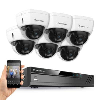 Plug & Play H.265 8-Channel 4K NVR 8MP Surveillance System with 6 Wired POE Dome Cameras with 98 ft. Night Vision, White