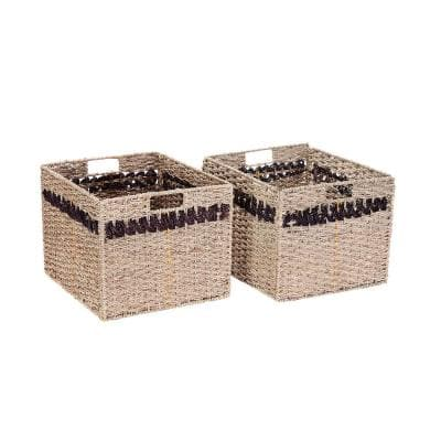 Handmade Water Hyacinth Wicker Rectangular Foldable Nesting Baskets in Striped Brown (2-Pack)