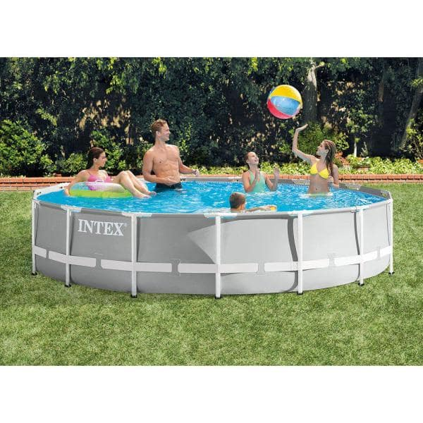 Intex 15 Ft X 42 In Round Prism Metal Frame Swimming Pool Set With Rechargeable Pool Vacuum 26723eh 28620e The Home Depot