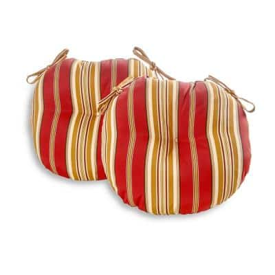 Roma Stripe 18 in. Round Outdoor Seat Cushion (2-Pack)