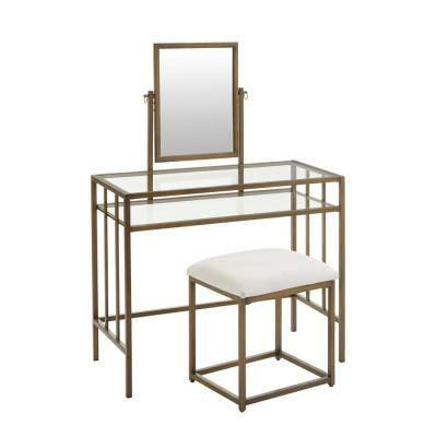 Bevanton Gold Metal Vanity Set with Ivory Upholstered Stool (36.10 in W. X 51.57 in H.)