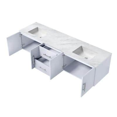 Geneva 80 in. W Double Bath Vanity in Glossy White with Marble Vanity Top in White Carrara with White Square Basins