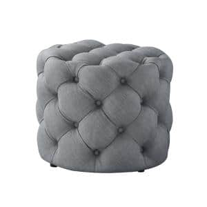 Marianna Light Grey Linen Tufted Allover Upholstered Round Ottoman