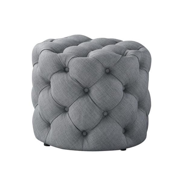 Inspired Home Marianna Light Grey Linen, Round Tufted Ottomans