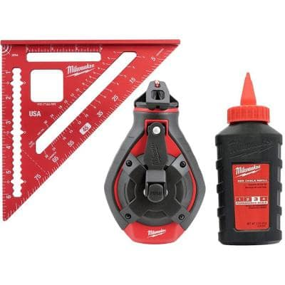 100 ft. Bold Line Chalk Reel Kit with Red Chalk and 7 in. Rafter Square