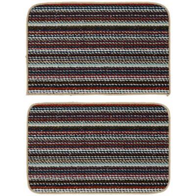 Carnival Stripe Random Multi Color 18 in. x 28 in. 2-Piece Rug Set
