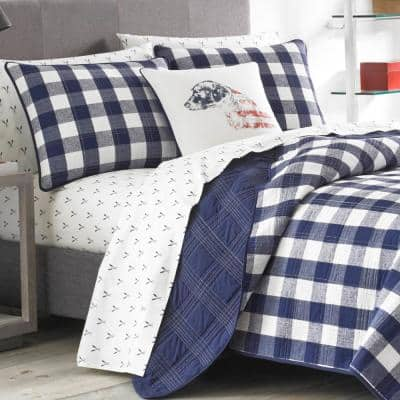 Lake House Navy Plaid Cotton Quilt Set