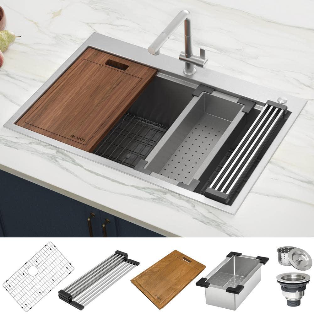 Ruvati Drop In Stainless Steel 33 In Workstation Ledge Topmount Kitchen Sink 16 Gauge Single Bowl Rvh8003 The Home Depot