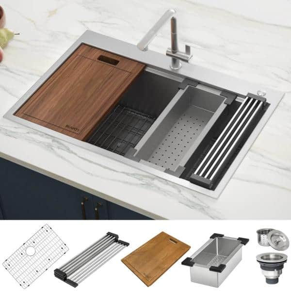 Ruvati Drop In Stainless Steel 33 In Workstation Ledge Topmount Kitchen Sink 16 Gauge Single Bowl Rvh8003 The Home Depot