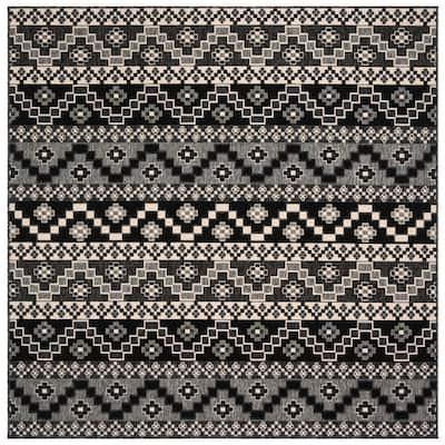 Veranda Black/Beige 5 ft. x 5 ft. Aztec Tribal Indoor/Outdoor Square Area Rug