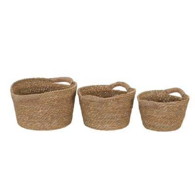 Natural Cattail Wicker Basket with Handles (Set of 3)