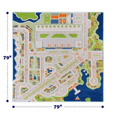 Mini City Multi-Color, 7 ft. x 7 ft. 3D Soft and Cozy Non-Toxic Polypropylene Play Area Rug for Kids Bedroom or Playroom
