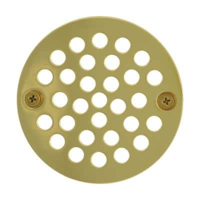 4-1/4 in. Round Stamped Replacement Coverall Strainer in PVD Polished Brass for Shower/Floor Drains